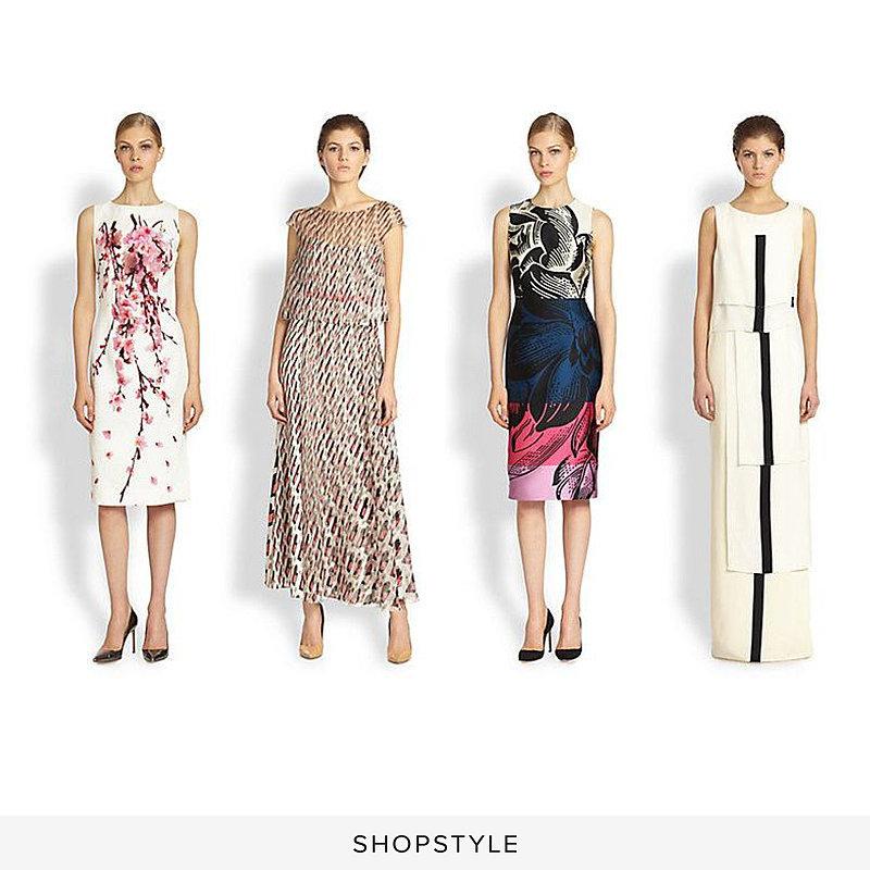 Carolina Herrera Cherry Blossom Dress ($2,390), Carolina Herrera Diamond Swirl-Print Silk Dress ($3,690), Carolina Herrera Floral Stripe Dress ($2,590), Carolina Herrera Tiered Silk Stripe Gown ($4,590)
