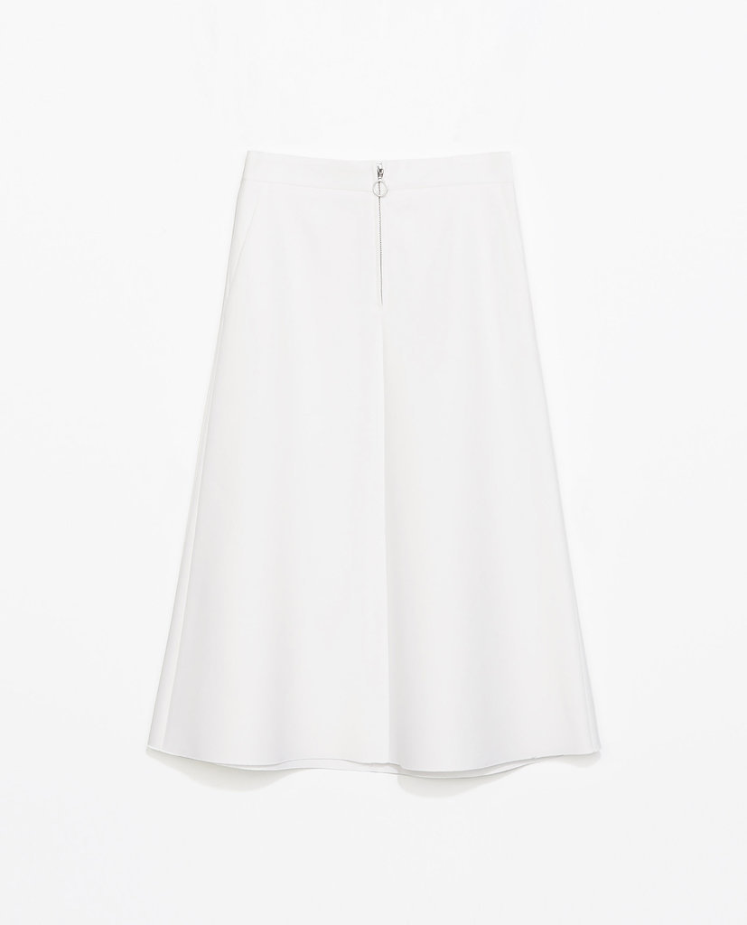 Zara white zipped midi skirt ($80)