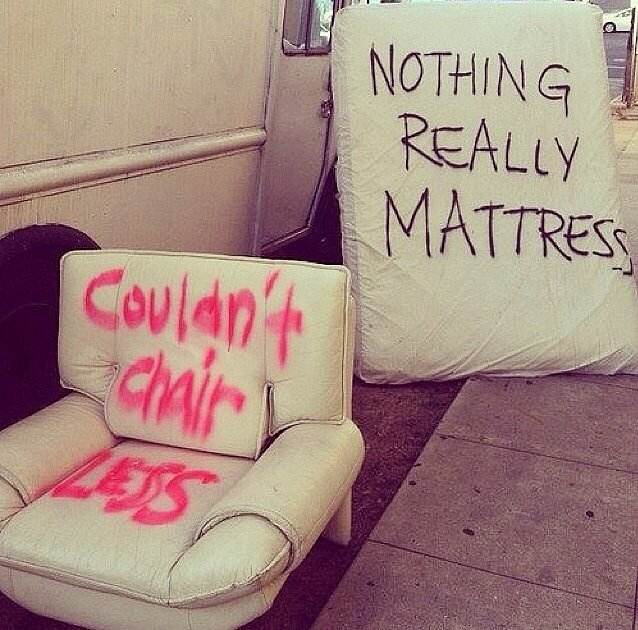 """Furniture puns"" Source: Reddit user Amandajohnstonn"