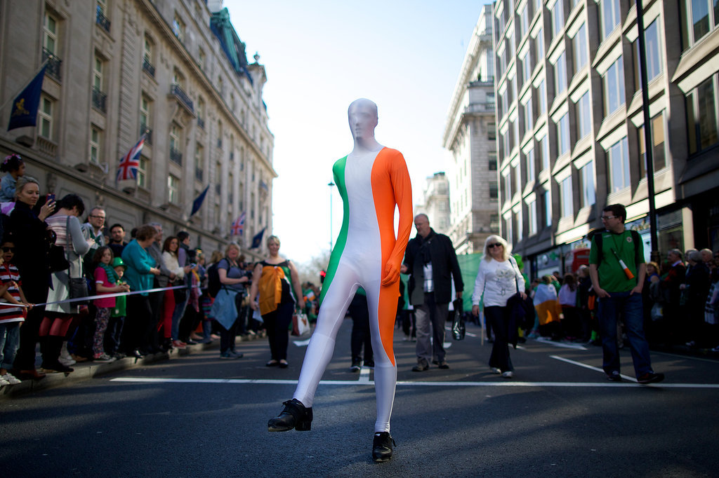 In the UK, a man wore a bodysuit inspired by the Irish flag.
