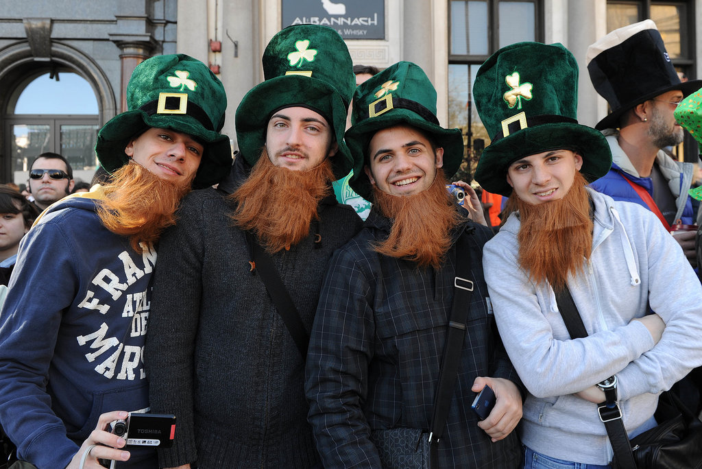 Men in the UK wore festive beards and hats.