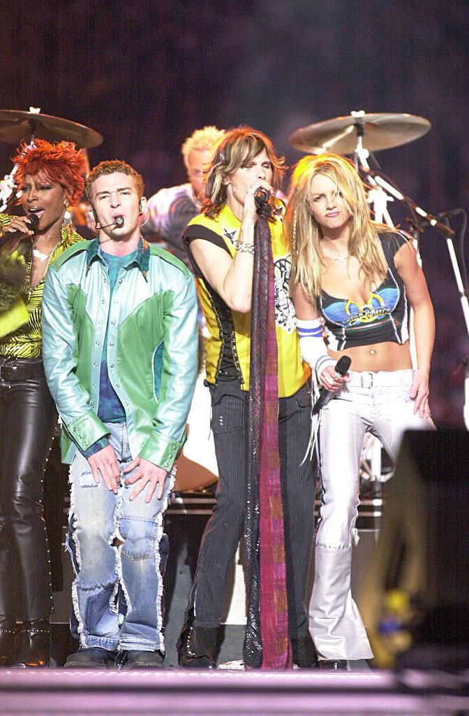 When *NSYNC performed for the Super Bowl halftime show with Britney and Aerosmith.