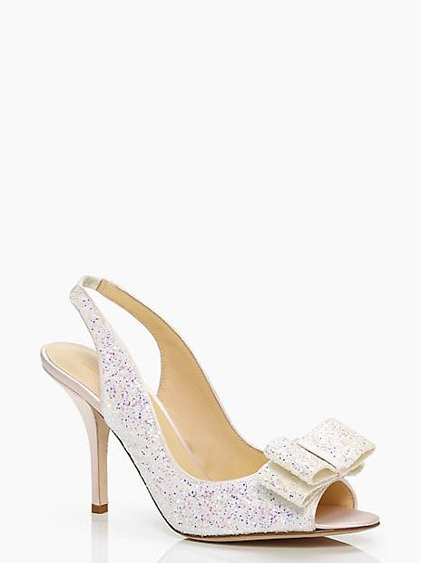 Kate Spade New York White Glitter Charm Bow Peep-Toe Heels ($129, originally $328)