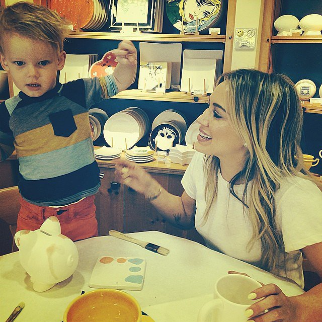 Hilary Duff went to a pottery-painting shop with her son, Luca. Source: Instagram user hilaryduff