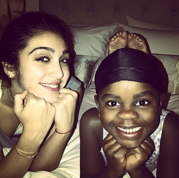 Madonna shared a snap of her daughter Lourdes bonding with her younger sister, Mercy. Source: Instagram user madonna