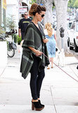 Kate Beckinsale in a Plaid Poncho