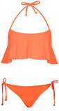 An apron up top like this orange Topshop find ($28) will move in whatever beachy breeze you're lounging in, creating a sort of optical illusion that keeps people guessing what (or how much) you're really hiding under there. Shop the matching bottoms ($16) for a full look.