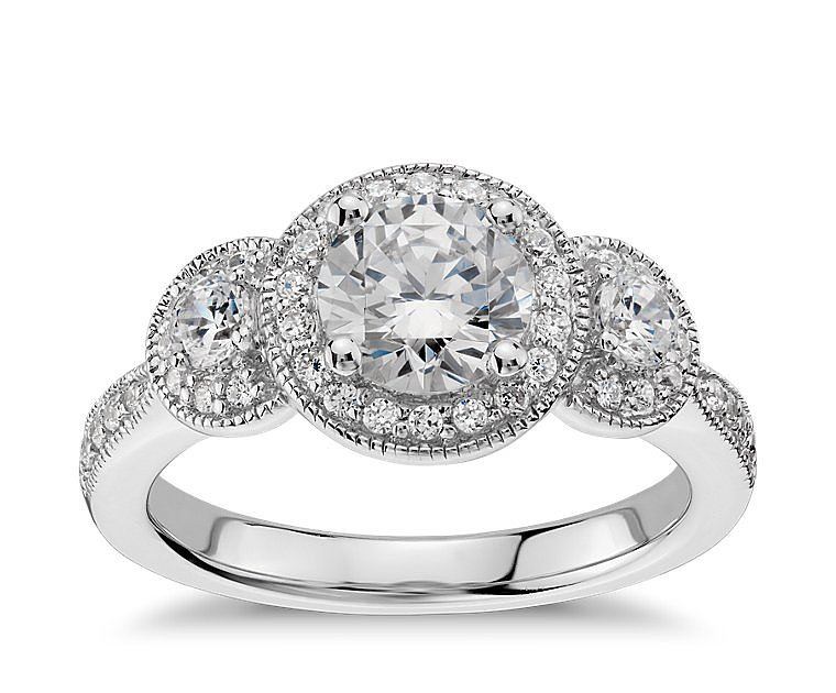Blue NIle Three Stone Milgrain Halo Engagement Ring ($1,475 for setting)
