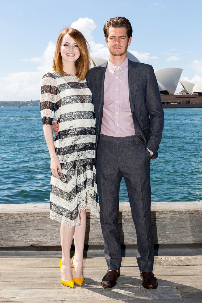 Emma Stone and Andrew Garfield paired up for a photocall for The Amazing Spider-Man 2: Rise of Electro in Sydney, Australia, on Thursday.