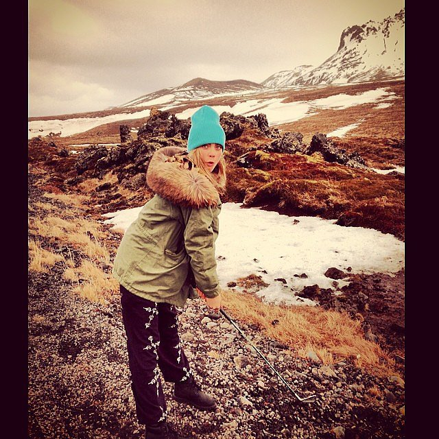 Cara Delevingne went golfing in the snow. Source: Instagram user caradelevingne