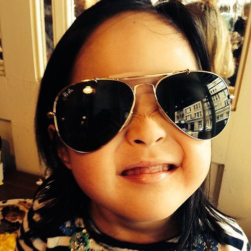 Naleigh Kelley was the epitome of cool in her dad's Ray Bans. Source: Instagram user joshbkelley