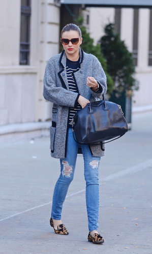 Count Miranda as one of the sleek celebs who favors flats for running errands. She paired a leopard smoking slipper with a gray jacket and striped shirt while out in NYC.