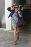 Reese Witherspoon in Isabel Marant Dress and Current/Elliot Denim Jacket