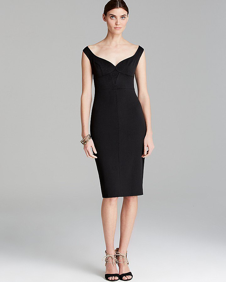 Black Halo off-the-shoulder sweetheart-neckline Ally dress ($345)