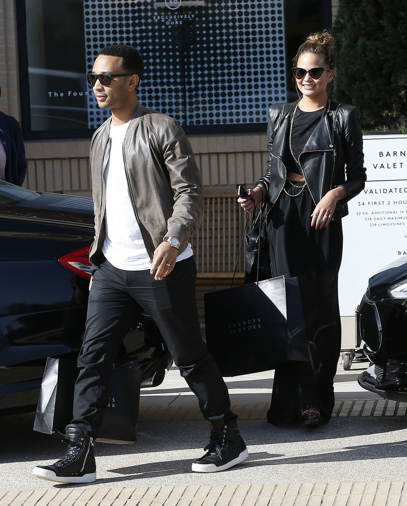 John Legend and Chrissy Teigen went shopping in Beverly Hills on Friday.