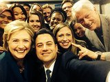 Inspired by Ellen DeGeneres's Oscars selfie, Jimmy Kimmel got the Clintons to show off their pearly whites during a Clinton Global Initiative University event. Source: Twitter user jimmykimmel