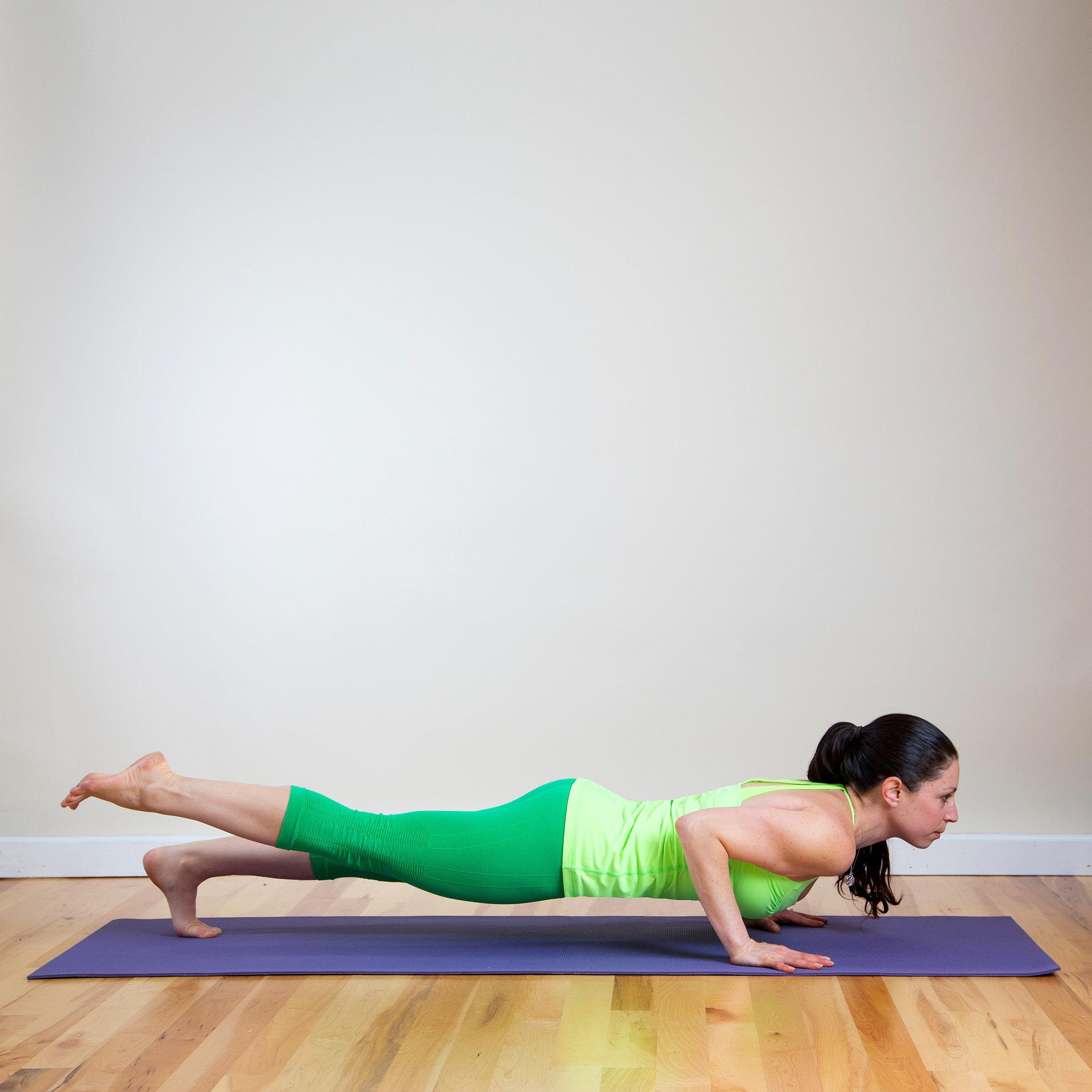 Sanskrit name eka pada chaturanga dandasana for Floor yoga poses