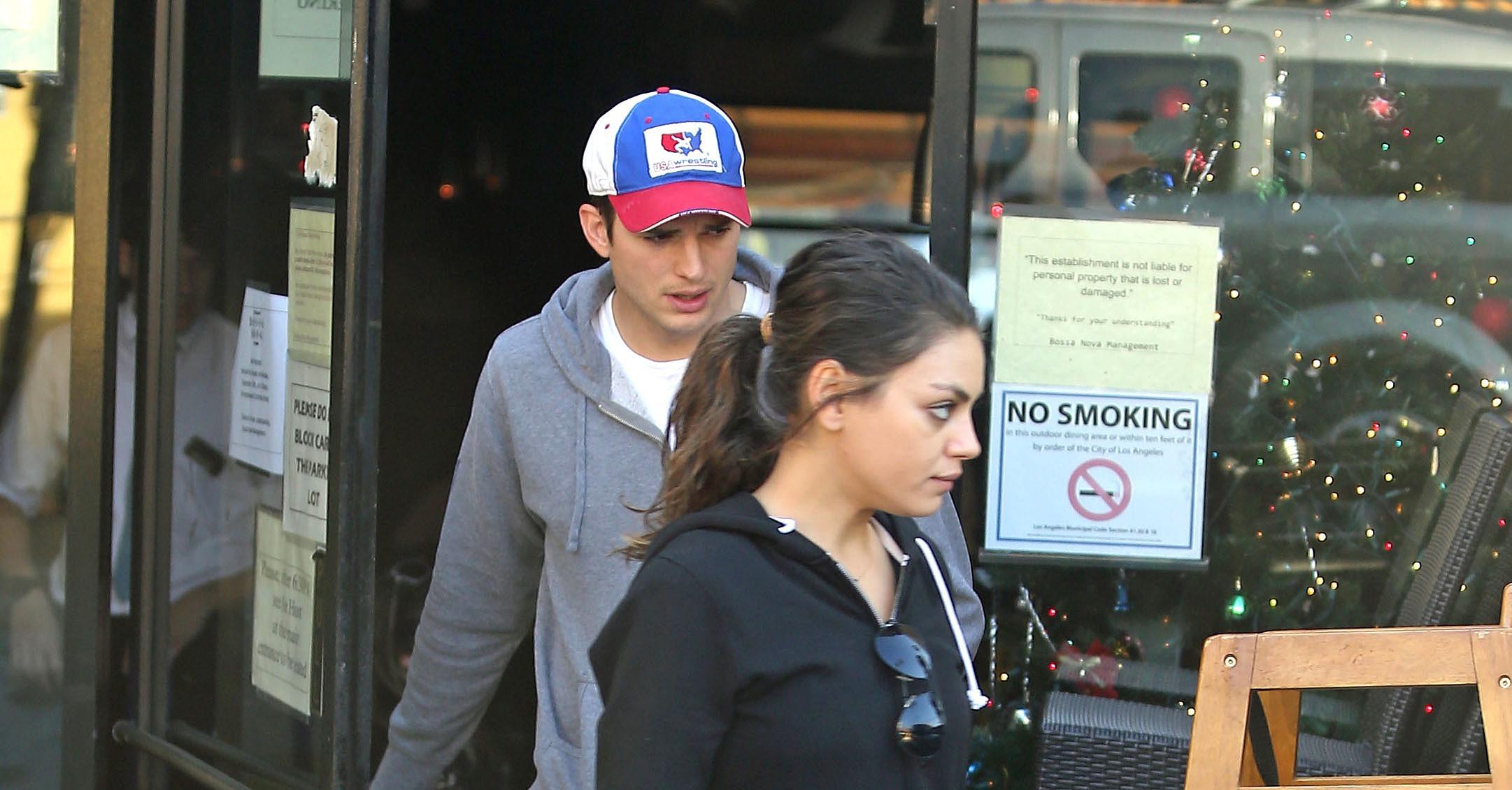walked with her boyfriend, Ashton Kutcher, in LA. | Ashton Kutcher ... Ashton Kutcher
