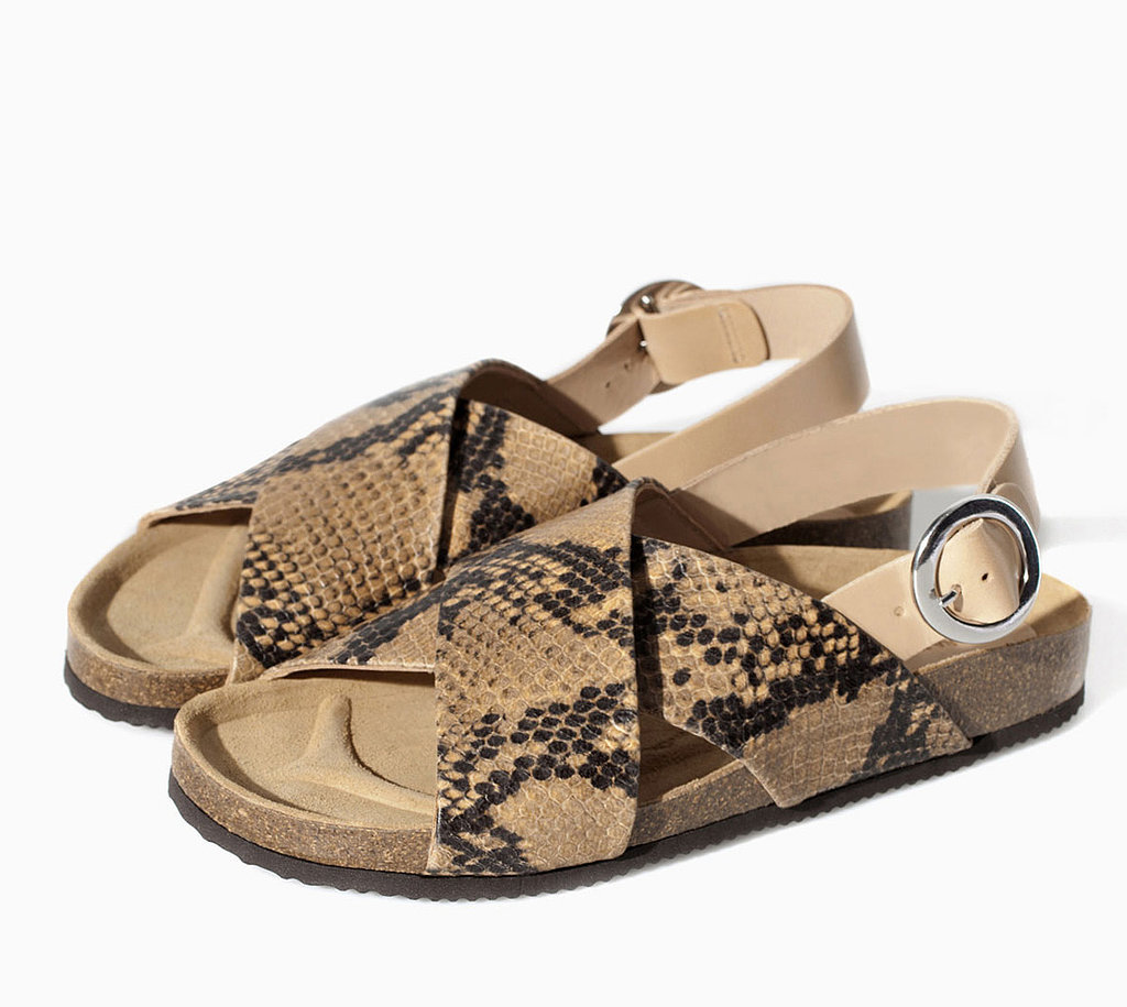 Zara tan snakeskin cork double-strap flat sandals ($100)