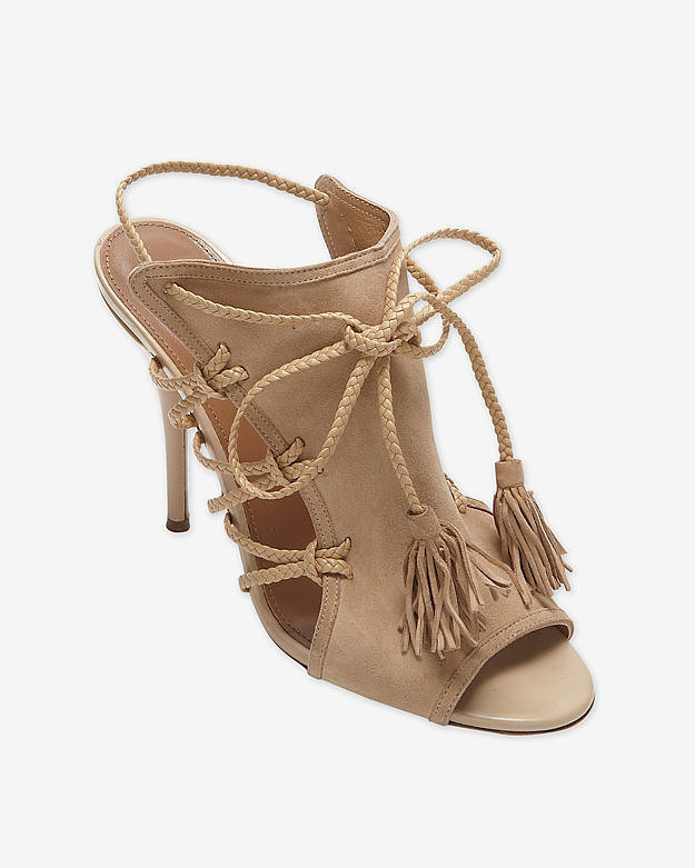 Aquazzura Tan Suede Braided Rope High Heel Sandals ($625)
