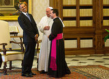 President Barack Obama met for the first time with Pope Francis, enjoying a good laugh at the Vatican.