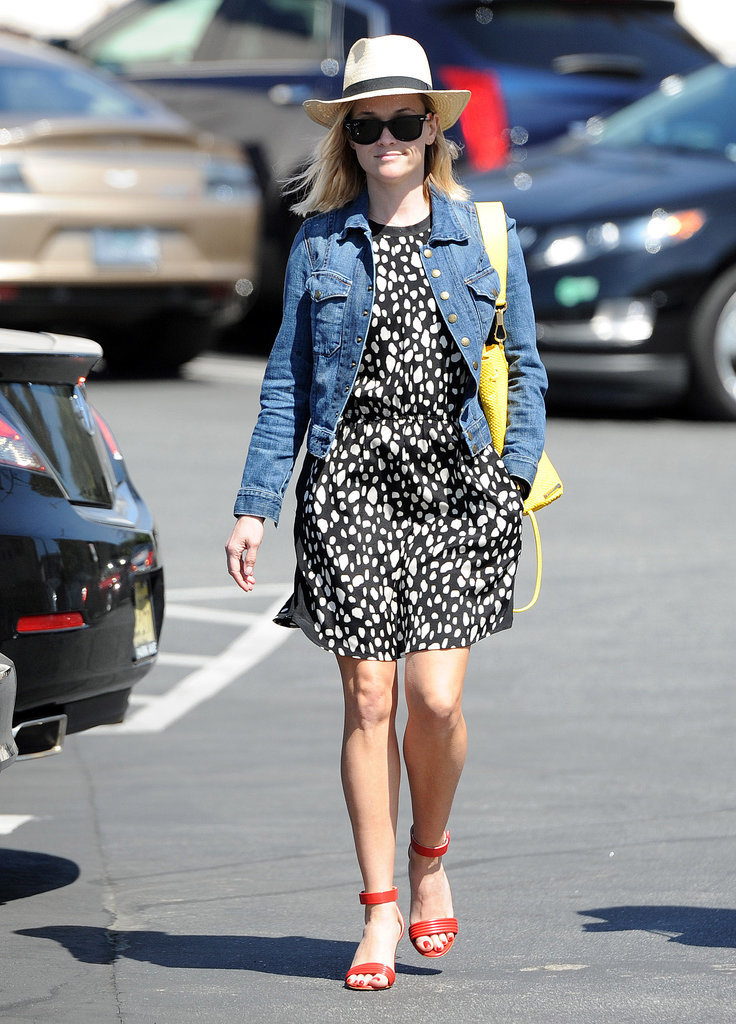 Reese Witherspoon in a Sea Dress and Current/Elliott Jean Jacket
