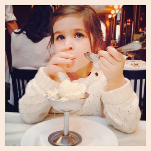 Harper Smith really enjoyed her dish of vanilla ice cream! Source: Instagram user tathiessen