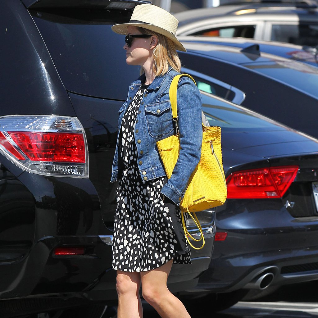 Reese Witherspoon Wearing Jean Jacket and Yellow Bag | Video