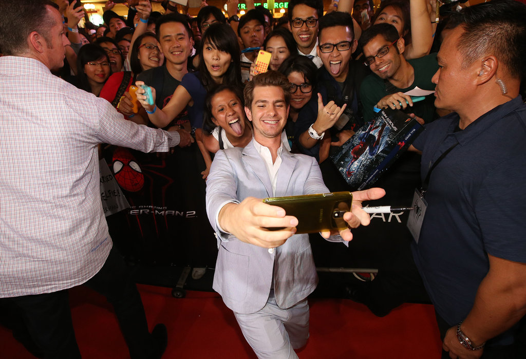 Then he snapped an epic selfie with fans.