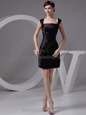 Sheath/Column Straps Elastic Woven Satin Short/Mini Ruched Cocktail Dresses