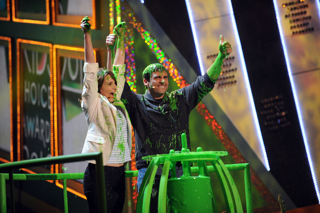Tina Fey and Steve Carell embraced the slime in 2010.