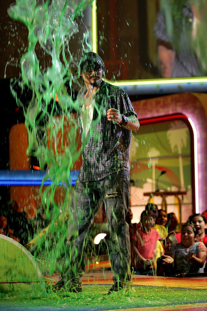 Johnny Depp had slime rain down on him in 2005.