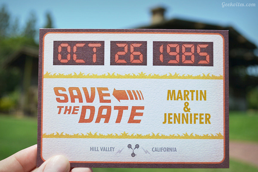 Stop searching for the perfect invites, because these Back to the Future announcements ($90 for 50) are unlike anything your guests have seen.
