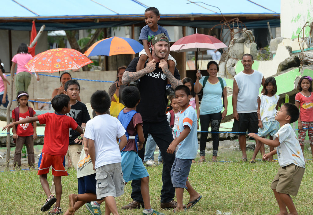 David Beckham Playing Soccer With Kids in the Phillipines