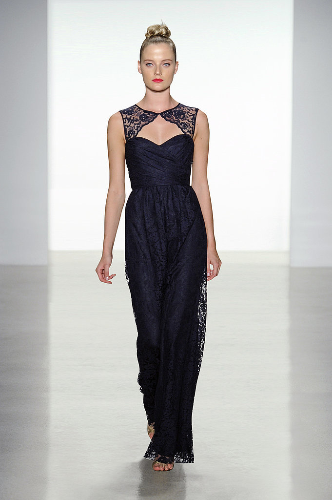Amsale lace key-hole neckline long bridesmaid dress in navy Photo courtesy of Amsale