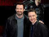 Hugh Jackman and James McAvoy promoted X-Men: Days of Future Past by unveiling a specially wrapped Virgin train in London on Monday.