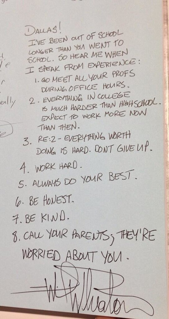 He wrote this amazing advice in a high school grad's yearbook.