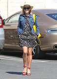 Reese Witherspoon in Denim Current/Elliott Jacket and Yellow Python Backpack
