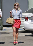 Reese Witherspoon in Coral Skirt and Pierre Hardy Sandals