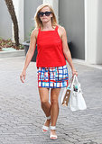Reese Witherspoon in Printed Kate Spade Saturday Skirt