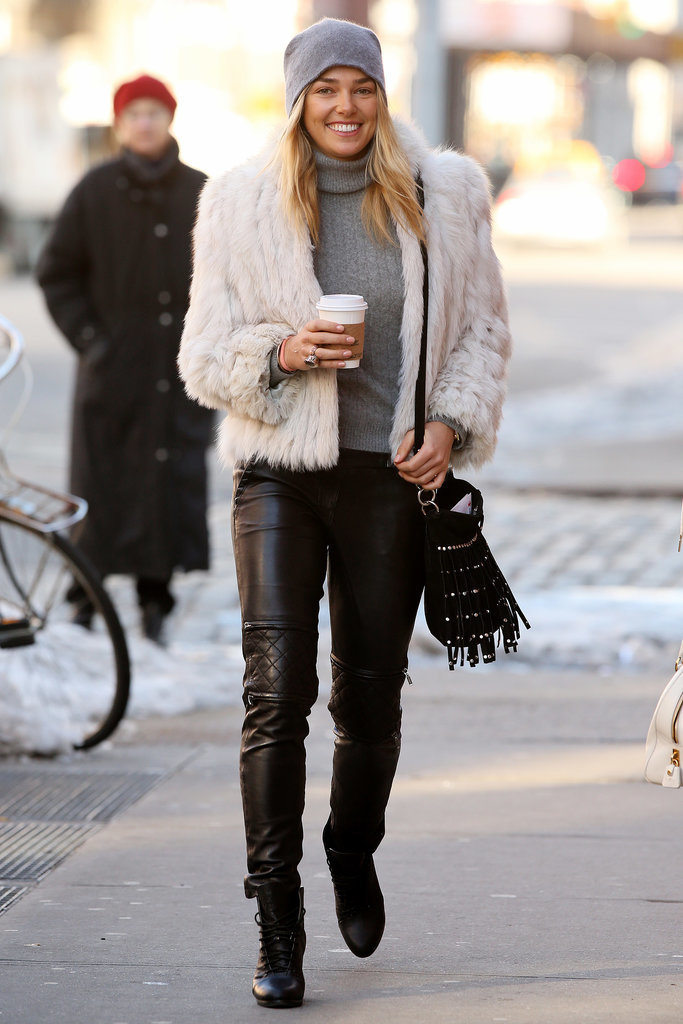 Ashley Hart tempered a voluminous fluffy coat with slick leather pants while out and about in NYC.
