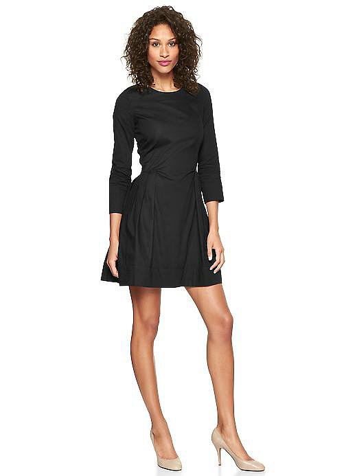 Gap Long-Sleeve Black Oxford Fit-and-Flare Dress