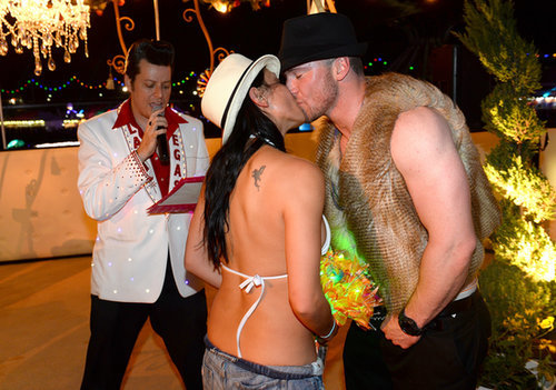 A couple tied the knot at the Electric Daisy Carnival in Las Vegas.