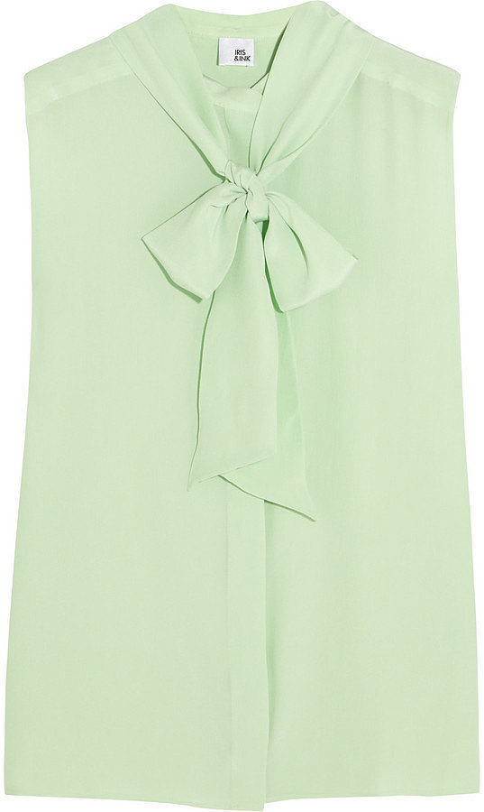 Iris & Ink Mint Green Eva Silk Pussy-Bow Blouse ($105)