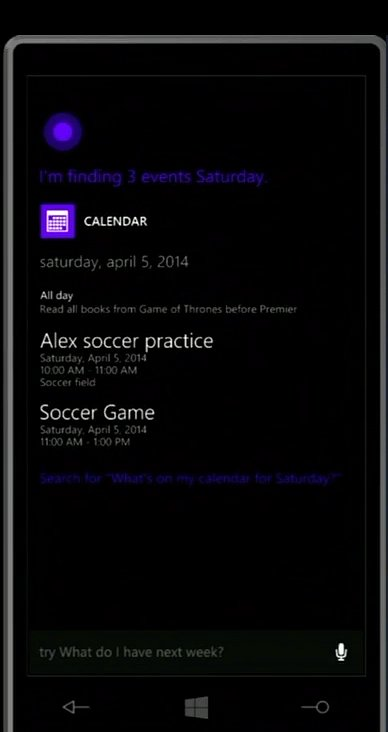 Cortana can read the day's agenda.