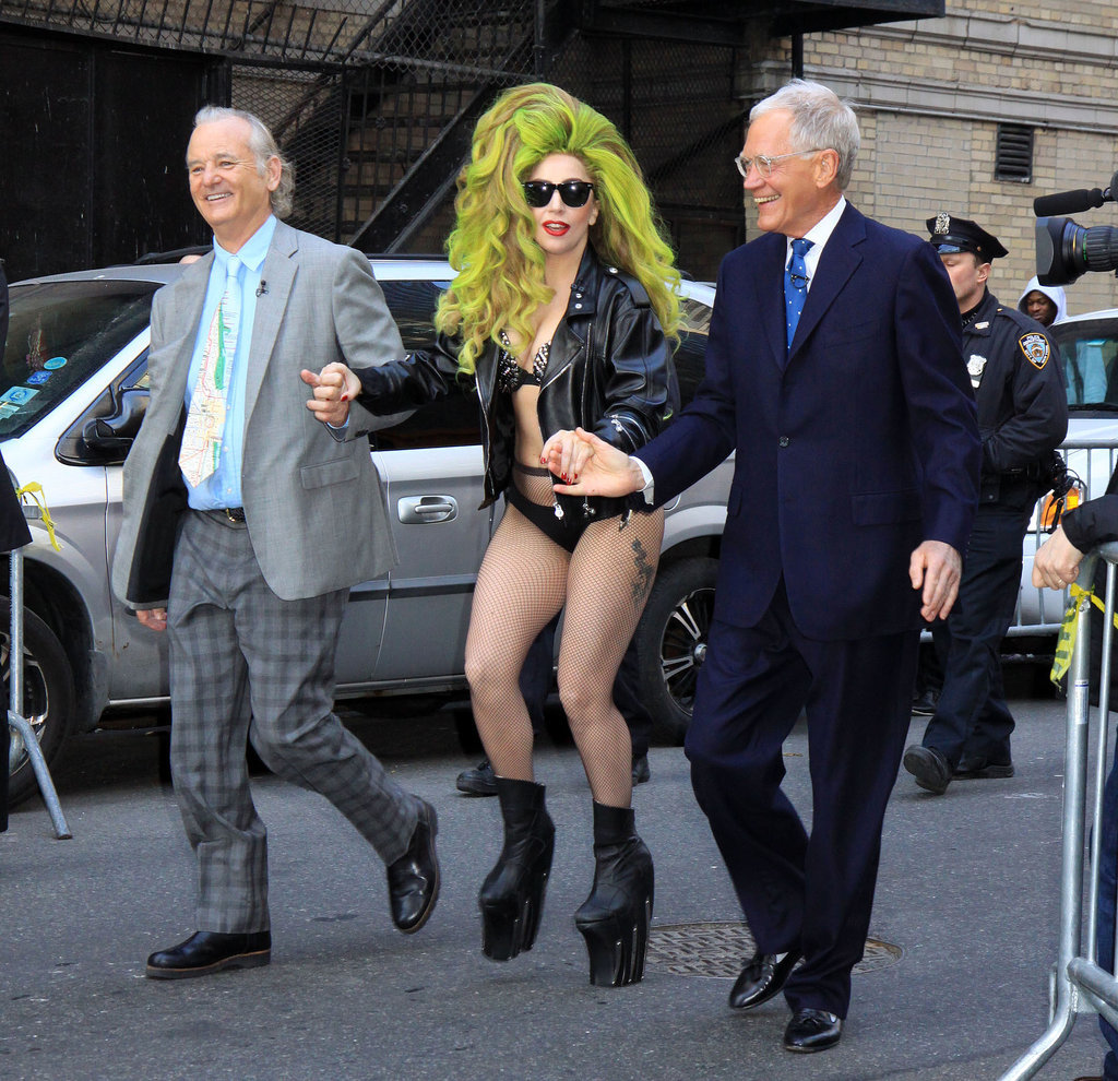 Lady Gaga was assisted by David Letterman and Bill Murray when she dropped by The Late Show in NYC.