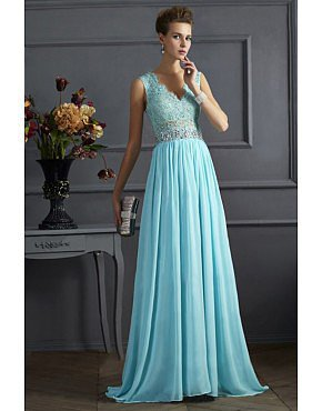 2014 V Neck Tulle Back A Line Exquisite Chiffon Beading Blue Prom Dress