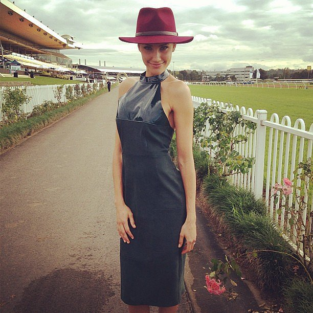 Looking sexier than ever in a Kahlo dress, Rachael accessorised with a Pharrell Williams-style FallenBrokenStreet hat. Source: Instagram user rachael_finch
