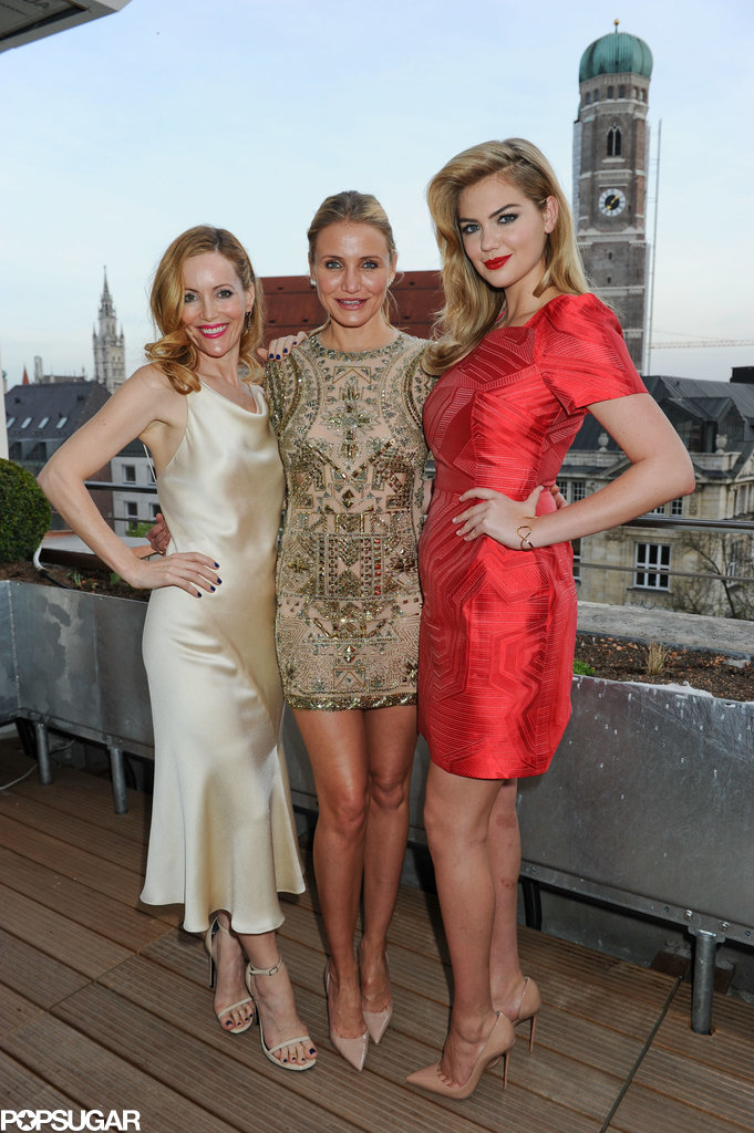 Leslie Mann, Cameron Diaz, and Kate Upton posed for a photo during a reception for The Other Woman in Munich on Monday.