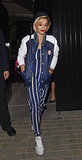 Rita Ora's easy, sporty jumper could work day to night, just by swapping out the footwear.